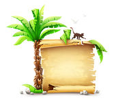 Old paper manuscript bundle and palm with monkey silhouette Stock Photo