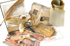 Old paper,manuscript and feather. Background with old paper ,book,feather and manuscript Royalty Free Stock Images
