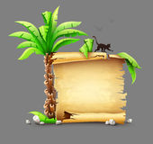 Old paper manuscript and palm with monkey silhouette Royalty Free Stock Photography