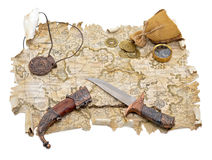 Pirate map with medallion and knife Stock Photos