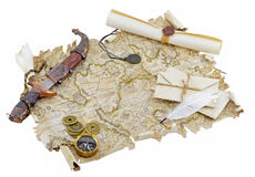 Pirate map with scroll and knife. Old paper map with decorated knife and letters Stock Images