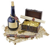 Pirate map with bottle of rum Royalty Free Stock Photography