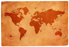 Old paper with map of the world Stock Images