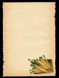 Old paper with matchbox motif Royalty Free Stock Photography
