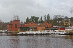 Old paper mill buildings of red brick Stock Image