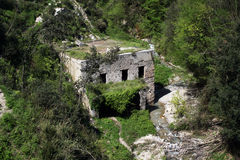 Old paper mill. The ruins of a old paper mill near minori on the amalfi coast in italy stock image