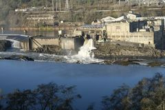 Old paper mill Willamette Falls Oregon City stock photos