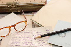 Old paper, old letters and envelopes Royalty Free Stock Photography