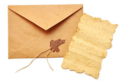 Old paper and opened envelope Stock Photos