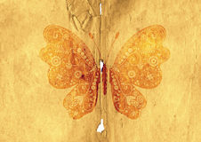 Old paper page with vintage butterfly. Tattered old paper page with vintage butterfly (vector eps 10 vector illustration