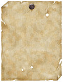Old paper or parchment with nail Stock Photos
