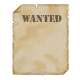 Old Paper. Parchment. WANTED! Stock Photo