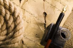 Old paper & Pen. Old paper background with pen & nibs royalty free stock photos