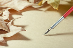 Old paper pen fountain and foliage Stock Photography