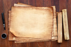 Old paper with pen and ink royalty free stock image