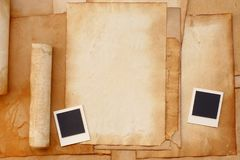 Old paper and photo frame Stock Photos