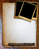 Old paper and photo frame Royalty Free Stock Photography