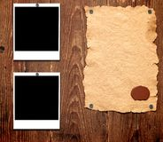Old paper and photo frames Stock Image