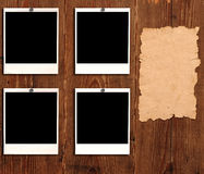 Old paper and photo frames Stock Images