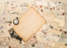 Old paper piece, antique accessories and postcards. Sentimental Stock Photos
