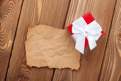 Old paper piece for copy space and valentines day gift box Royalty Free Stock Photography