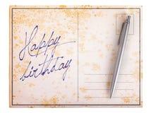 Old paper postcard - Happy birthday Stock Image