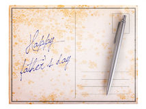 Old paper postcard - Happy father's day Royalty Free Stock Photos