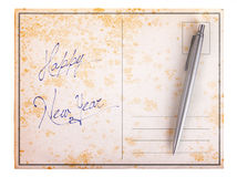 Old paper postcard - Happy new year Royalty Free Stock Images