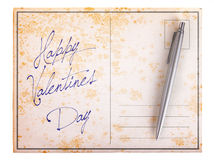 Old paper postcard - Happy valentines day Stock Image