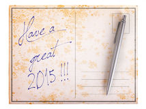 Old paper postcard - Have a great 2015 Royalty Free Stock Image