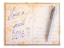 Old paper postcard - Have a great 2016 Stock Photo