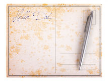 Old paper postcard - Hello dad Royalty Free Stock Images