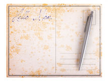 Old paper postcard - Hello mom Royalty Free Stock Photos