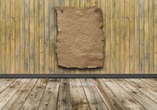 Old paper poster on wood vintage wall. Empty wild west wanted poster on weathered plank wood wall vector illustration