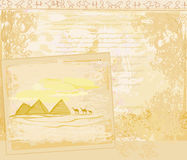 Old paper with pyramids giza Royalty Free Stock Photography