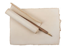 Old paper with quill pen Stock Image