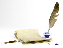 Old paper and quill pen. Old paper with a wax seal and quill pen stock illustration
