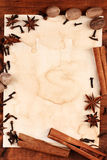 Old paper for recipes and spices. On wooden table Royalty Free Stock Photos