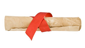 Old paper with red ribbon Stock Photography