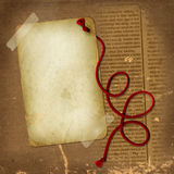 Old paper with red rope for design Royalty Free Stock Images