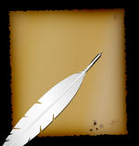 Old paper and retro white pen. Dark background, sheet of old paper and retro feather white pen Royalty Free Stock Photography