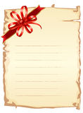 Old paper with ribbon Stock Photography