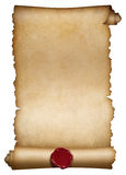 Old paper roll or manuscript with wax seal Royalty Free Stock Photos