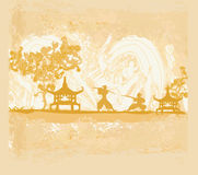 Old paper with Samurai silhouette Royalty Free Stock Images