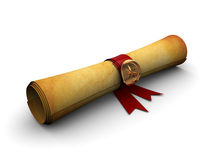 Old paper scroll. 3d illustration of old paper scroll with golden seal and ribbon Royalty Free Stock Images
