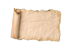 Old paper scroll isolated on white Royalty Free Stock Photo