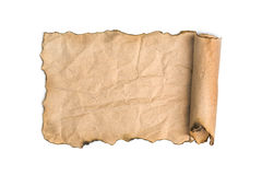 Old paper scroll isolated on white stock photos