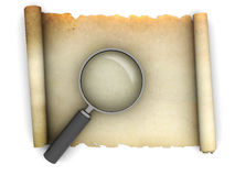 Old paper scroll with magnify glass Stock Images