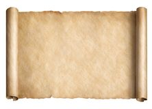 Old paper scroll or parchment isolated. Horizontally oriented 3d illustration royalty free illustration