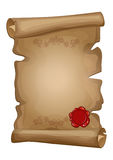 Old paper scroll and red wax seal Stock Photos